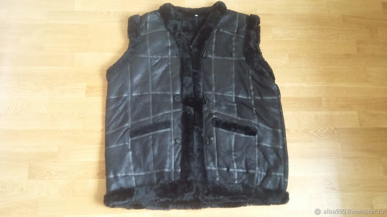 Fur vest made of sheepskin 64 sizes.Black, Afghan Coats, Moscow,  Фото №1