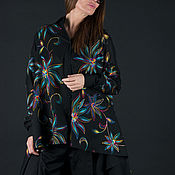 Одежда handmade. Livemaster - original item Black cotton blouse, long loose blouse - SH0436CT. Handmade.