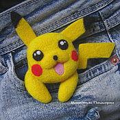Украшения handmade. Livemaster - original item Brooch Pokemon Pikachu - felted brooch wool handmade. Handmade.