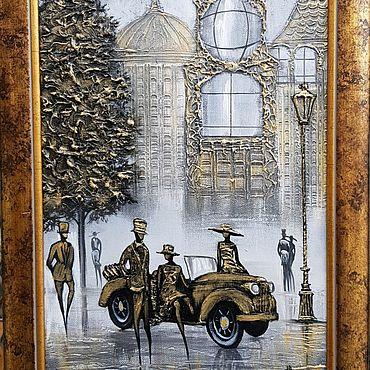 Картины и панно ручной работы. Ярмарка Мастеров - ручная работа Встреча у авто. Handmade.