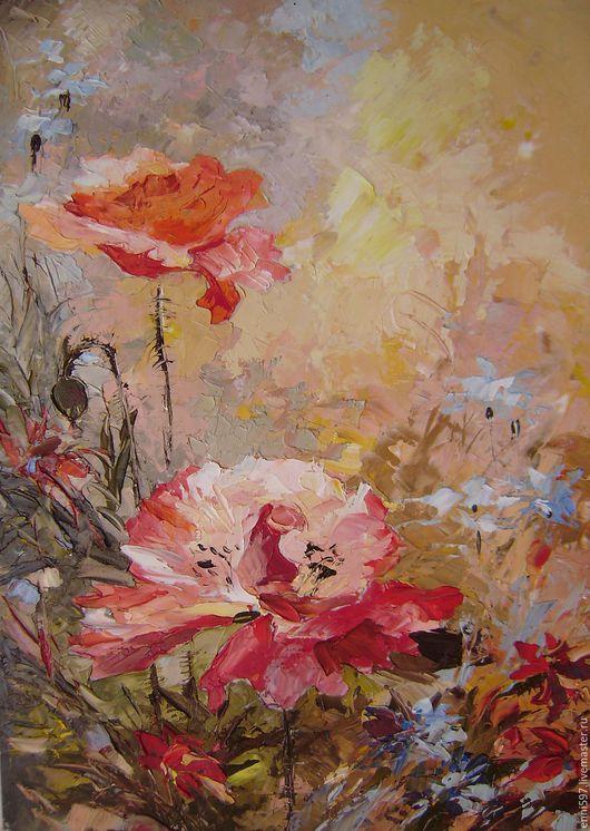 Картины цветов ручной работы. Ярмарка Мастеров - ручная работа. Купить живопись. Handmade. Комбинированный, живопись маслом, масло