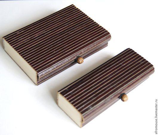 коробка упаковочная `Бамбук 29 ` маленькая темно-коричневая