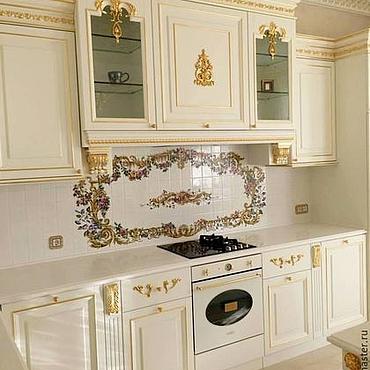 Diseño y publicidad manualidades. Livemaster - hecho a mano Painted tiles for kitchen Apron Rococo. Handmade.