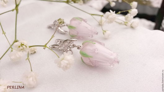 8 марта Розовые серьги из стекла  `Нежная весна`, авторский лэмпворк, серьги ручная работа, авторские серьги, розовый, весна, нежность, красота