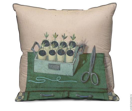 """Текстиль, ковры ручной работы. Ярмарка Мастеров - ручная работа. Купить наволочка """"Май"""". Handmade. Зеленый, наволочка, лен, принт"""
