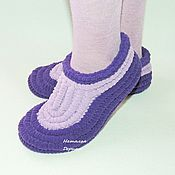 Обувь ручной работы handmade. Livemaster - original item Plush knitted Slippers, Slippers soles. Handmade.