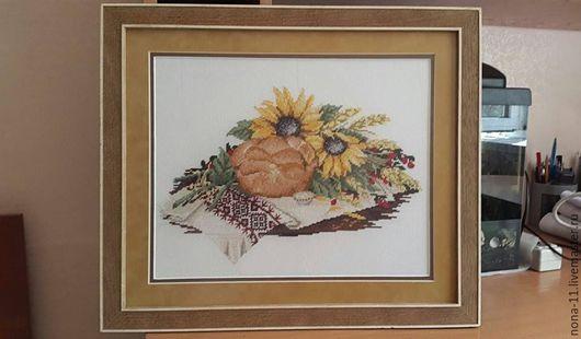 """Натюрморт ручной работы. Ярмарка Мастеров - ручная работа. Купить Картина """"Хлеб-соль"""", вышивка крестом. Handmade. Комбинированный, соль"""