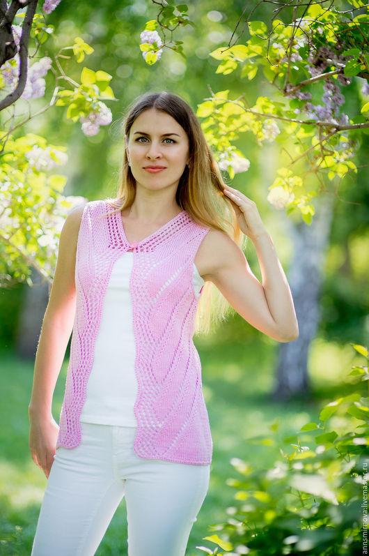 Жилеты ручной работы. Ярмарка Мастеров - ручная работа. Купить Жилет женский вязаный розовый 100%хлопок. Handmade. Кофта