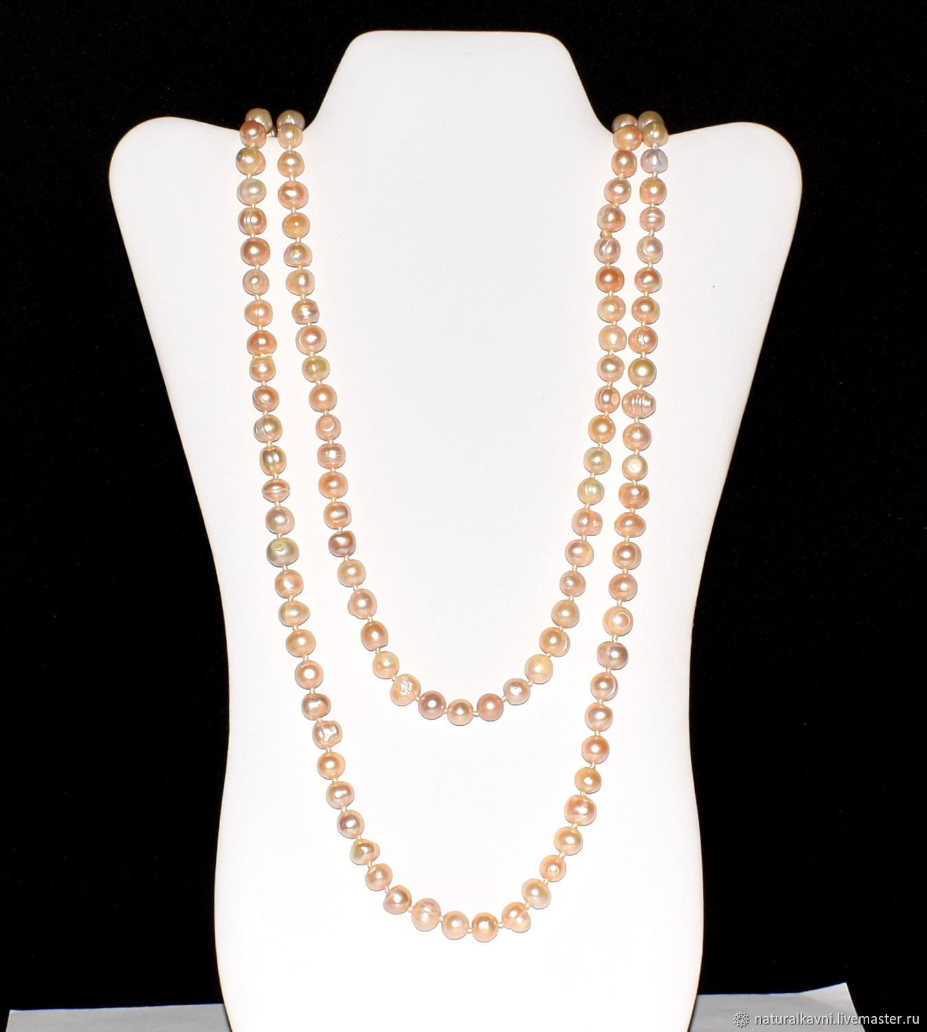 Long beads made of natural pink pearls, Beads2, Moscow,  Фото №1