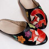 """Обувь ручной работы. Ярмарка Мастеров - ручная работа Тапочки домашние женские кожаные """"Лисички"""". Handmade."""
