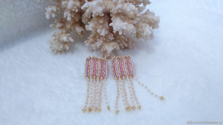 Earrings beaded embroidery Soft Pusey, Stud earrings, Podolsk,  Фото №1