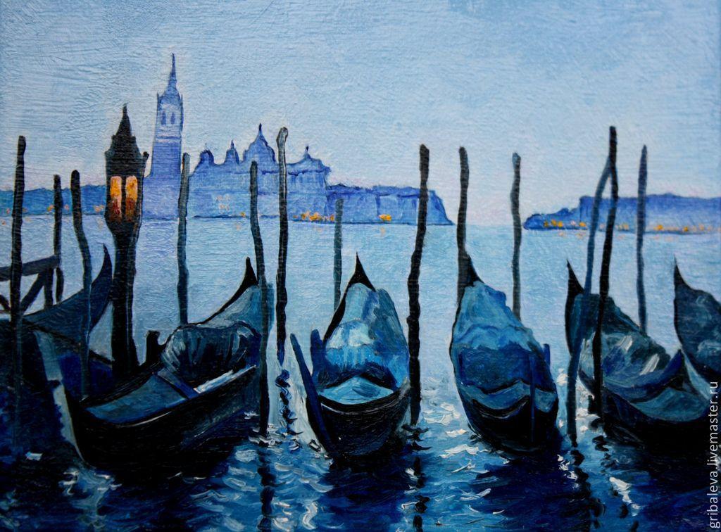 Большая Картина маслом  огни ночной Венеции город  пейзаж синий, Картины, Югорск,  Фото №1