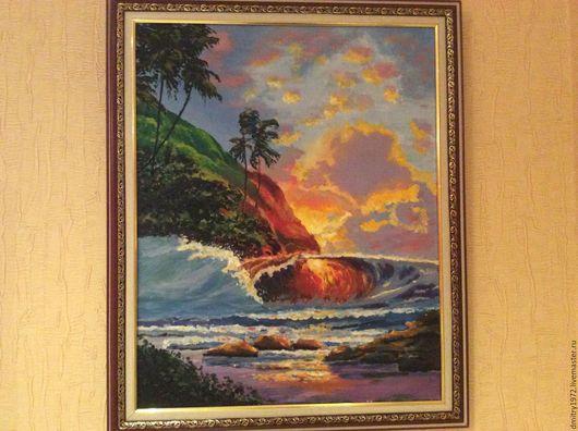 Пейзаж ручной работы. Ярмарка Мастеров - ручная работа. Купить Море. Handmade. Синий, картина для интерьера, картина для гостиной, холст