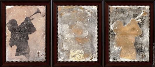 картина триптих: рассвет, полдень, закат. монотипия