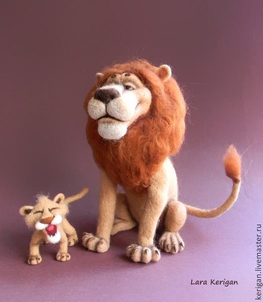 Игрушки животные, ручной работы. Ярмарка Мастеров - ручная работа. Купить Король Лев. Handmade. Бежевый, отец и сын