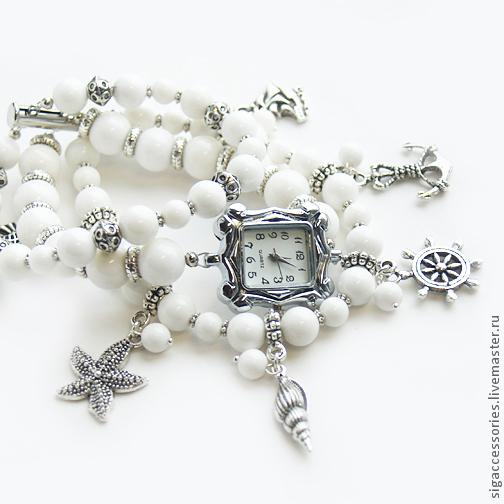 """Часы ручной работы. Ярмарка Мастеров - ручная работа. Купить """"В белом море"""" - часы-браслет. Handmade. Белый"""