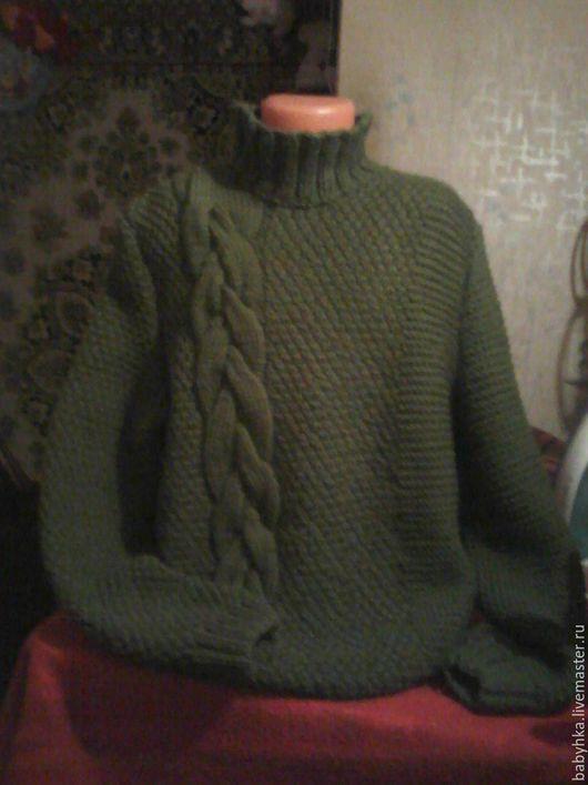 Для мужчин, ручной работы. Ярмарка Мастеров - ручная работа. Купить свитер. Handmade. Тёмно-зелёный, шерсть 100%