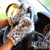 Аксессуары handmade. Livemaster - original item Mitts, Owls. Handmade.