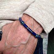 Украшения handmade. Livemaster - original item Men`s silver bracelet made of lapis lazuli and azurite.. Handmade.