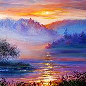 "Картины и панно handmade. Livemaster - original item Landscape Oil Painting on canvas - ""Sunset in the Fog"". Handmade."