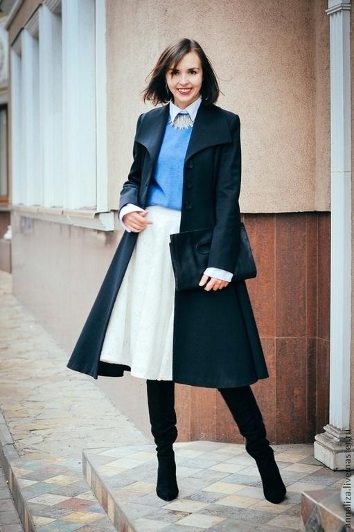Верхняя одежда ручной работы. Ярмарка Мастеров - ручная работа. Купить Женское пальто в ретро стиле. Handmade. Черный