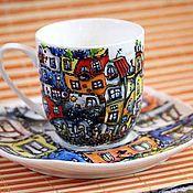 Посуда ручной работы. Ярмарка Мастеров - ручная работа Разноцветные домики. Архитектор Хундертвассер.. Handmade.