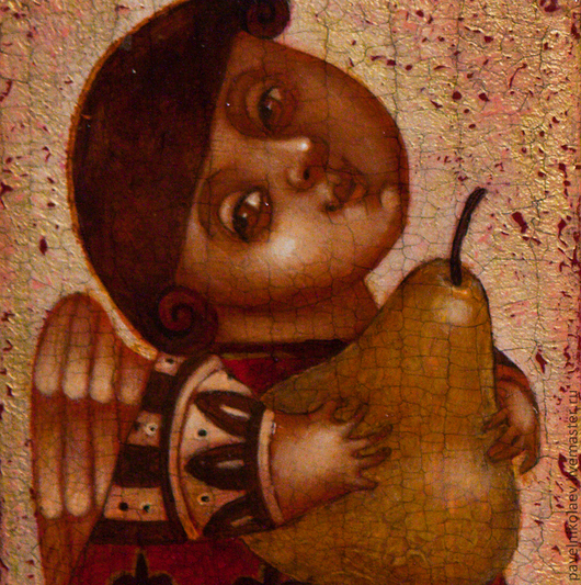 """Персональные подарки ручной работы. Ярмарка Мастеров - ручная работа. Купить """"Ангел с грушей"""", авторская печать. Handmade. Оранжевый, груша"""