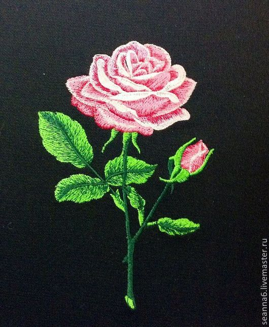 """Аппликации, вставки, отделка ручной работы. Ярмарка Мастеров - ручная работа. Купить Вышитая картина, картинка, панно """"Распустившаяся роза"""". Handmade."""