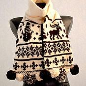 Аксессуары ручной работы. Ярмарка Мастеров - ручная работа Шарф Зимний день с помпонами из альпаки. Handmade.