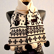 Аксессуары handmade. Livemaster - original item Scarf Winter day with a POM POM Alpaca. Handmade.