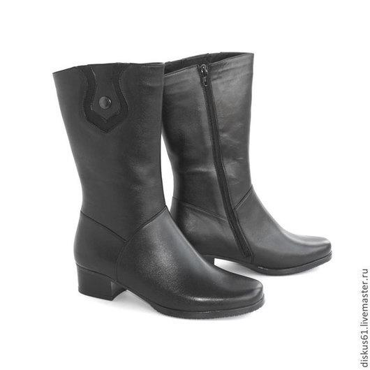 Обувь ручной работы. Ярмарка Мастеров - ручная работа. Купить Сапожки зимние М-120. Handmade. Черный, сапожки на каблучке