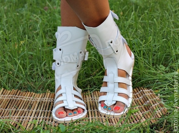 Greek High Sandals leather white. any sizes and colors on request!