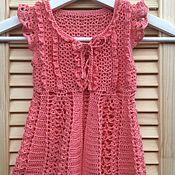 Работы для детей, ручной работы. Ярмарка Мастеров - ручная работа Сарафан туника платье-халат для малышки 6 месяцев связанный крючком. Handmade.