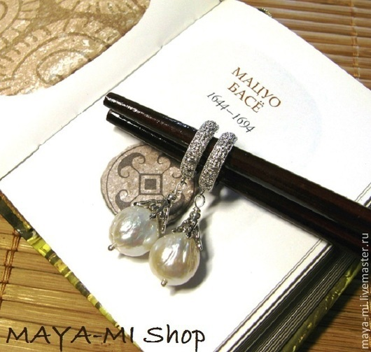 Серьги ручной работы. Ярмарка Мастеров - ручная работа. Купить KASUMI WHITE BEAUTY-4, серьги с жемчугом касуми. Handmade.