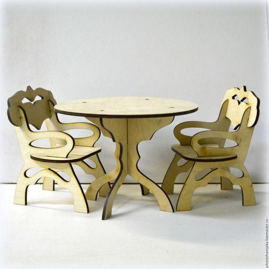 Кукольный дом ручной работы. Ярмарка Мастеров - ручная работа. Купить Стол со стульями для кукольного домика. Handmade. Бежевый