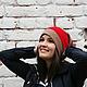 Вязаные шапки женские, женские шапки,зимние шапки, шапки носок, шапка-носок, шапка носком, шапка чулок, шапка чулком, шапка бини, бежевый, серый, алый, красный.