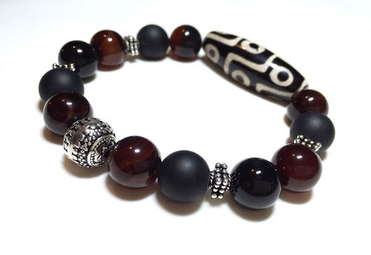 Браслеты ручной работы. Ярмарка Мастеров - ручная работа. Купить Мужской браслет из натуральных камней и серебра 925. Handmade.