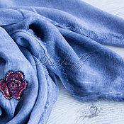 Аксессуары handmade. Livemaster - original item Blue wool scarf from fabric c Chanel embroidery. Handmade.