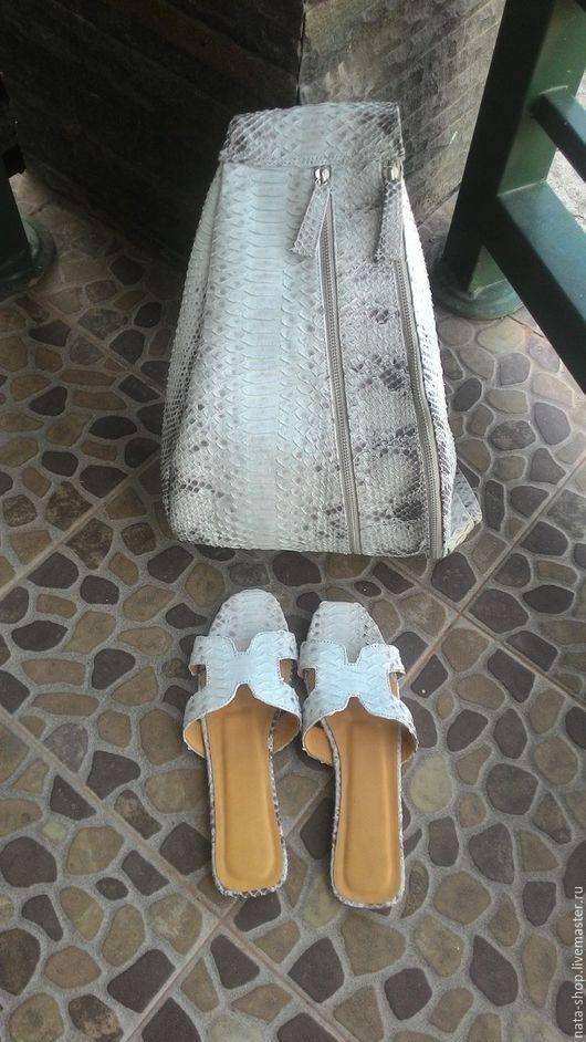Обувь ручной работы. Ярмарка Мастеров - ручная работа. Купить сандалии- шлепанцы. Handmade. Серый, босоножки из питона, босоножки на зака