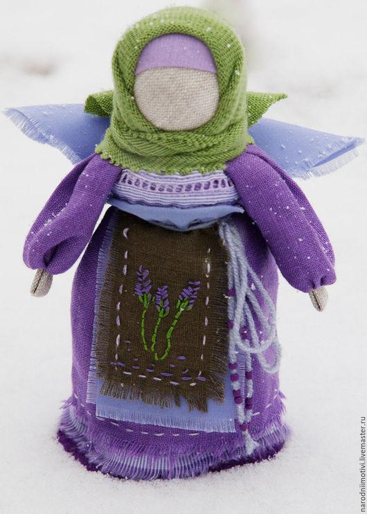 Народные куклы ручной работы, Купить кукла-оберег  Ангел хранитель ,,Нежная лаванда`, оберег для дома, оберег для семьи, Handmade, авторская кукла, сиреневый, салатовый, зеленый, лаванда лавандовый.