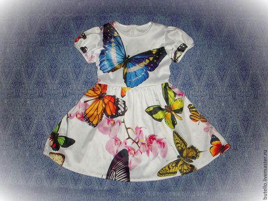 Одежда для девочек, ручной работы. Ярмарка Мастеров - ручная работа. Купить Платье. Handmade. Рисунок, Платье с бабочками, нарядное платье