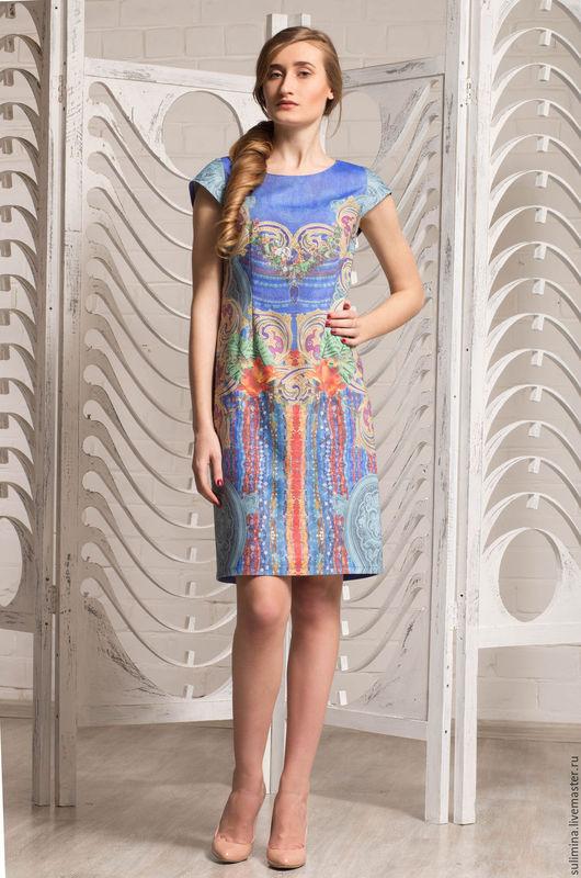 Платья ручной работы. Ярмарка Мастеров - ручная работа. Купить Платье с роскошным принтом ЗОЛОТО-БРИЛЛИАНТЫ. Handmade. Разноцветный