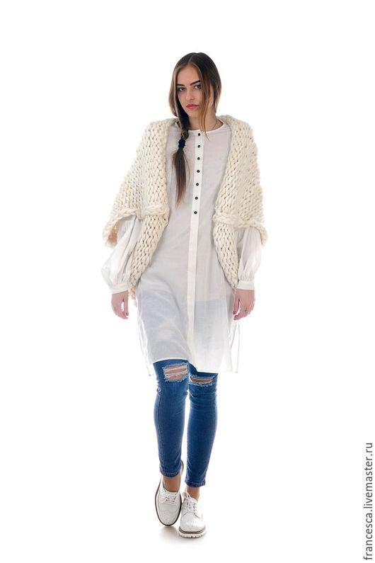 Кардиган жакет кейп вязаный из мериносовой шерсти с натуральным шелком. Дизайнерская одежда ручной работы. Cashmere Francesca