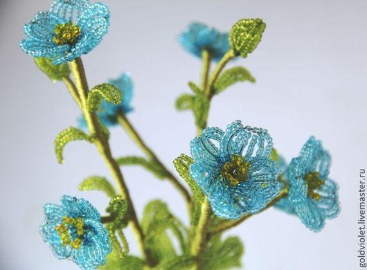Цветы ручной работы. Ярмарка Мастеров - ручная работа. Купить Маки гималайские голубые из бисера - Цветы из бисера. Handmade. Голубой