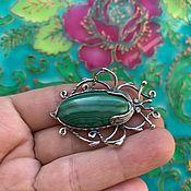 Украшения handmade. Livemaster - original item @Beetle brooch with natural malachite. Handmade.