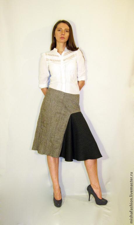 Юбки ручной работы. Ярмарка Мастеров - ручная работа. Купить Асимметричная юбка из костюмной и жатой ткани. Handmade. Серый, асимметрия
