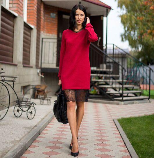 Платья ручной работы. Ярмарка Мастеров - ручная работа. Купить Платье-свитер из шерсти и вискозы с кружевом. Handmade. Платье-свитер