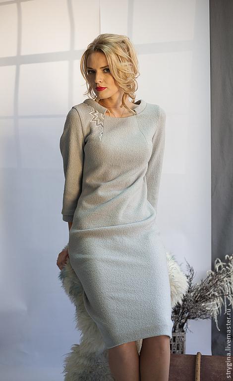 Платья ручной работы. Ярмарка Мастеров - ручная работа. Купить Платье Sole invernale. Handmade. Серый, стильное платье, вышивка