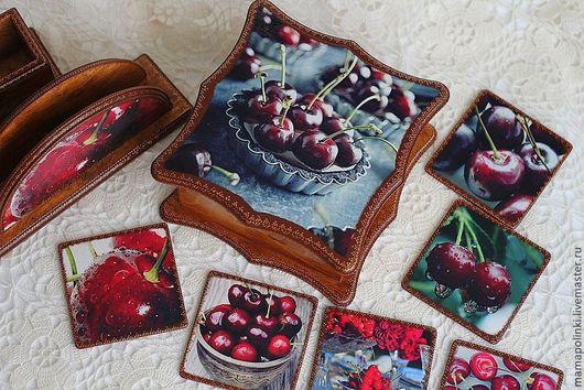 """Кухня ручной работы. Ярмарка Мастеров - ручная работа. Купить Набор  """"Лето вишнёвого цвета"""". Handmade. Бордовый, набор для кухни"""
