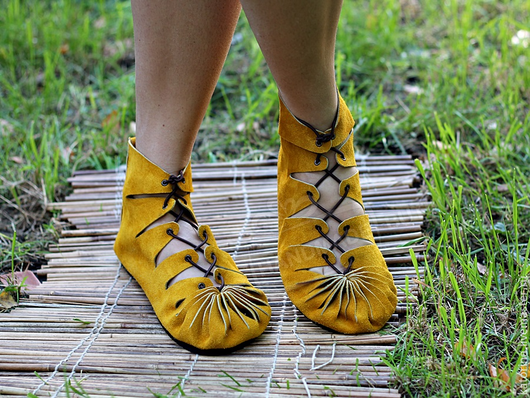 Handmade Shoes handmade. Livemaster - handmade. Buy Moccasin in suede with mustard.Shoes, shoes with wide heel